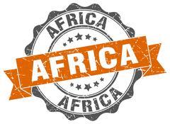 Africa round ribbon seal Stock Illustration