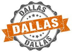 Dallas round ribbon seal Stock Illustration