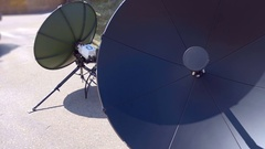 Mobile portable satellite dish on a tripod to deploy it quickly and in any place Stock Footage