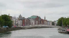 The bridge in the middle of the river in Dublin in Ireland Stock Footage