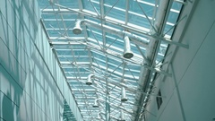 The high glass ceiling of the hangar with ventilation pipes Stock Footage