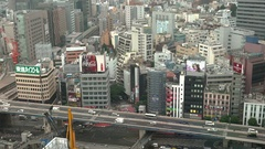 Tokyo cityscape with Shuto Expressway Traffic Daytime Stock Footage