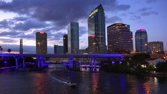 Tampa, Florida City Skyline Along Downtown Waterfront at Night Stock Footage