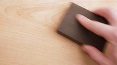 Grinding wood grinding sponge. Stock Footage