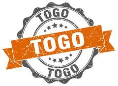 Togo round ribbon seal Stock Illustration