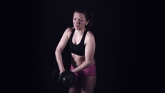 4k Fat Body Woman with Weight Issue Trying to Lift Dumbell Stock Footage