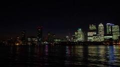 Canary wharf timelapse London city lapse sunset dusk night bright window lights Stock Footage