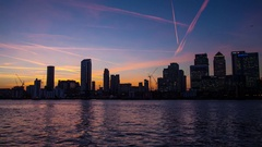 Canary wharf timelapse London city lapse sunset  dusk night with bright lights Stock Footage