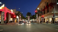 Rodeo Drive in Beverly Hills and Christmas lights decoration, Los Angeles Stock Footage