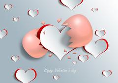 Heart shape on paper craft with egg Stock Illustration