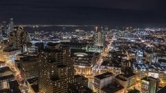 San Francisco Downtown Night Time Lapse Stock Footage