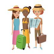 Group girl friends tourist traveler Stock Illustration