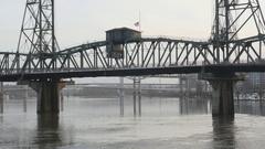 Hawthorne Bridge with evening traffic. Portland, Oregon, USA. Stock Footage