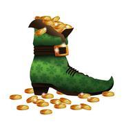 Saint patricks day boot golden coins Stock Illustration