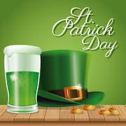Poster st patrick day hat and glass beer on wooden green background Stock Illustration