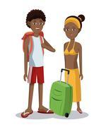 Travel afro couple tourist vacation luggage Stock Illustration