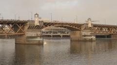 Burnside Bridge and Willamette River. Portland, Oregon, USA. Stock Footage