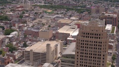 AERIAL: Cityscape of New York apartment buildings and residential towers Stock Footage