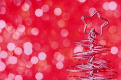 Metallic modern christmas tree on red tint light bokeh background, xmas holid Stock Illustration