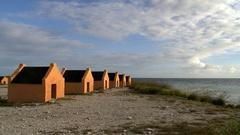 Huts on bonaire beach Stock Footage