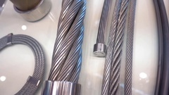 Metal cables of different structure and thickness in cut Stock Footage