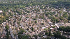 AERIAL: Continuous sprawling of beautiful rich suburban town of New York City Stock Footage