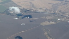 Three bombers flying wedge Stock Footage