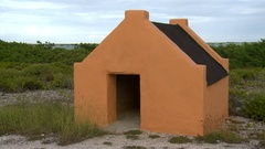 Hut on bonaire beach in caribbean Stock Footage