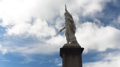 Public Palace and Statue of Liberty in the central square of San Marino - Square Stock Footage