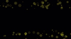 Tiny Yellow Rings Within Rings Over Black Seamless Loop Motion Backgound 4K Stock Footage