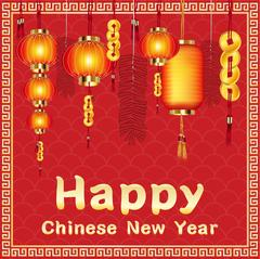 Happy chinese new year with firecrackers and chinese lantern Piirros