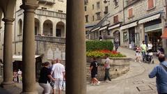San Marino, San Marino - SEPT 17, 2016 : Giuseppe Garibaldi Monument, San Marino Stock Footage