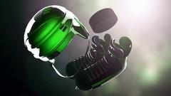 Hockey puck and hockey equipment Stock Footage