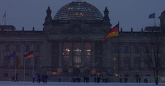 The historic Reichstag in Berlin with it's modern dome in October 25, 2011 Stock Footage