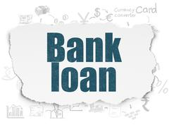 Currency concept: Bank Loan on Torn Paper background Piirros