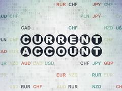 Currency concept: Current Account on Digital Data Paper background Stock Illustration