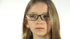 4K Eyeglasses Child Testing New Glasses, Shortsighted Little Girl Face, Portrait Stock Footage