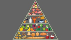 Food pyramid Nutrition Animation in Alpha Channel Stock Footage