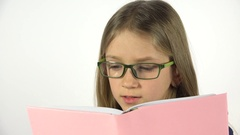4K Eyeglasses Child Reading a Book, Portrait Student Girl Learning, White Screen Stock Footage