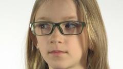 Shortsighted Child Testing New Glasses, Eyeglasses Little Girl Face, Portrait Stock Footage