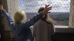 Adventurous Young Women Look At The View Of Bruges, Raises Arms In Excitement Stock Footage
