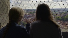 Friends Enjoy The View Of Bruges, Blonde Points To Something In Distance Stock Footage