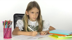 4K Student Child Reading, Writing in School, Girl Studying at Office, Interior   Stock Footage