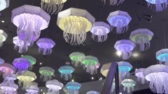 Beautiful ceiling lamp in the form of marine jellyfish stock footage video Stock Footage