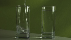 Pouring splashing water in glass slow motion stock footage video Stock Footage