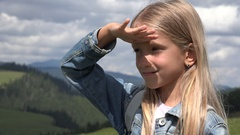 4K Tourist Child in Mountains Looking at Landscapes, Girl in Summer Trip Stock Footage