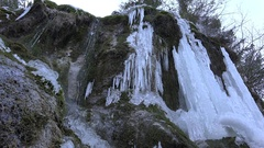 4K Frosted Brook in Winter, Creek Icicle on Mountain Cliffs, Frozen Snow Stock Footage