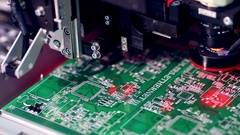 Automated Circut Board machine Produces electronic board Stock Footage