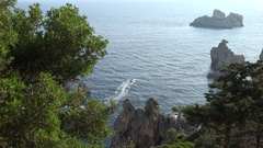 4K Ski Jet Cruise, Sailing, Sea Trip, Travelling to Tropical Exotic Island Beach Stock Footage