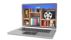 New technologies. Laptop. Multimedia concept. 3d illustration Stock Footage